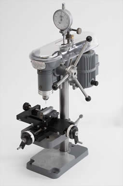 Cameron Model 164 with Dial Indicator and X-Y Table with Vise installed sensitive manual micro drill press